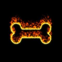The symbol bone burns in red fire