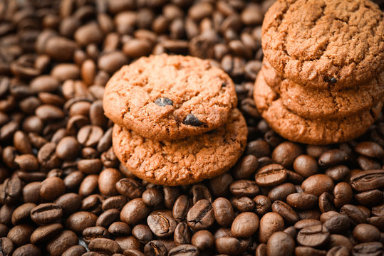 Chocolate cookies coffee beans roasted background