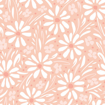 Monochrome hand-painted daisies and foliage on peach pink background vector seamless patters. Spring summer floral print