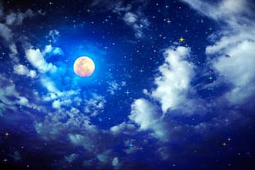Full moon with stars at dark night sky .