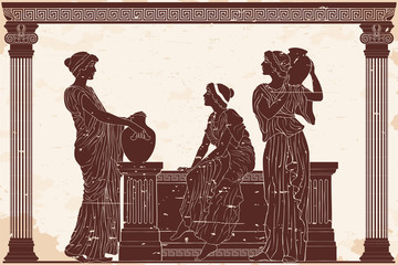 Three ancient Greek women are talking near the parapet with jugs. Antique fresco on a beige background with an aging effect. Wall mural