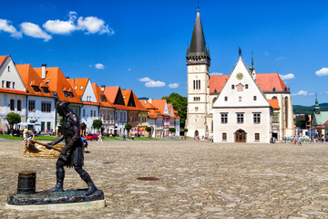 BARDEJOV, SLOVAKIA - AUGUST 15, 2017: Old city and market square in UNESCO listed city Bardejov,...