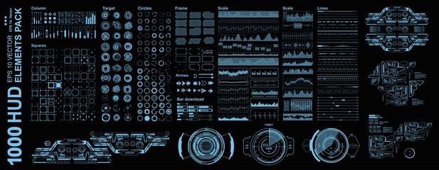 Futuristic virtual graphic touch user interface, Mega pack set Futuristic Hud elements