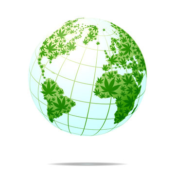 Cannabis world map composition of marijuana leaves.