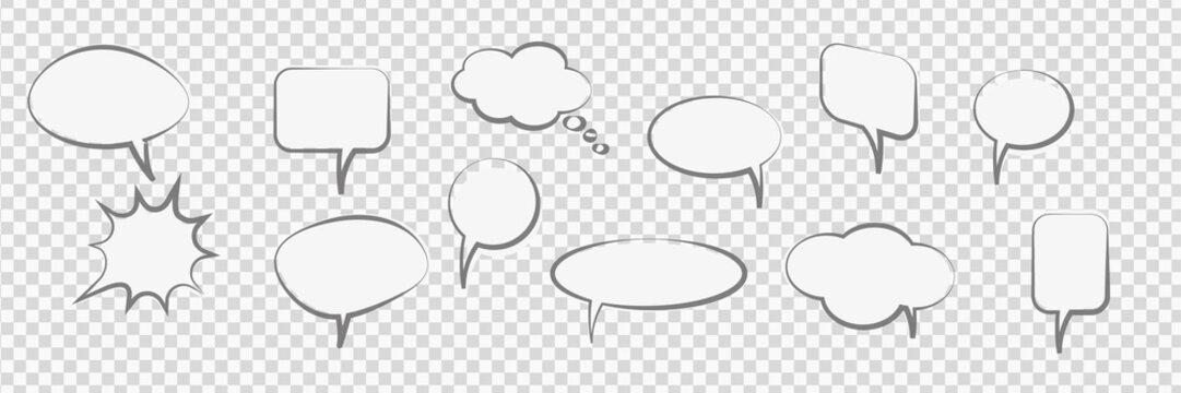 Comic Cartoon Speech Bubbles trasparent vector background
