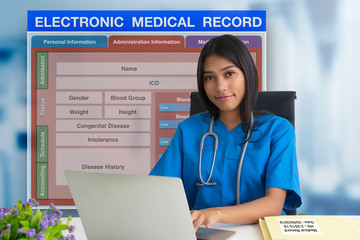 Wall Mural - Female doctor with patient blank form of electronic medicale record system on background.