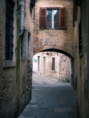 Narrow old street in Koper Slovenia