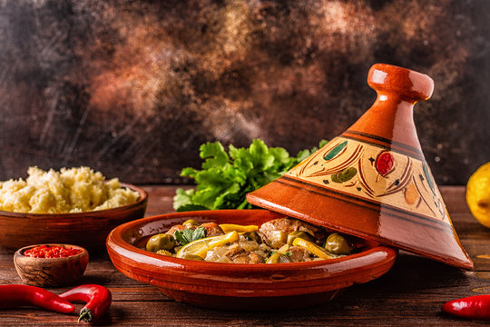 Traditional Moroccan chicken tagine with olives and salted lemons