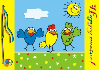Three birds and yellow sun at background on the sky, happy easter, vector funny icon, postcard. Easter postcard with children's theme. Yellow frame with inscription and Easter motif.