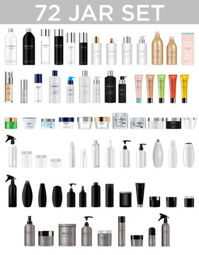 Set vector blank templates of empty and clean multicolor plastic and glass containers:  bottles with spray, dispenser and dropper, cream jar, tube.  Realistic 3d mockup of cosmetic package. Vector i