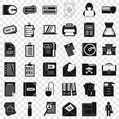 Important document icons set. Simple style of 36 important document vector icons for web for any design