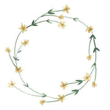watercolor yellow wreath of wildflowers with green leaves on white background for greetings card