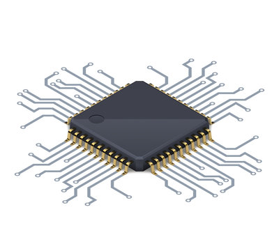 Processor or electronic chip on circuit board with conductive tracks and soft realistic shadow. Isometric vector illustration