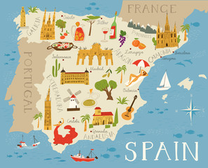 Vector high detailed vector map of Spain with cities and symbols of Spain.