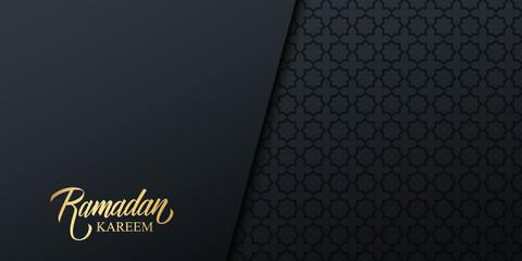Ramadan holiday banner with gold handwritten inscription Ramadan Kareem and black arabic pattern. Vector illustration