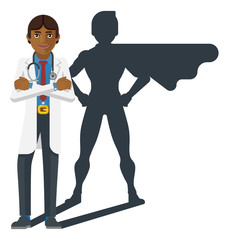 A young Asian medical doctor revealed as super hero by his superhero silhouette shadow