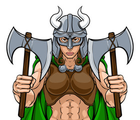 Viking female warrior woman sports team mascot cartoon character
