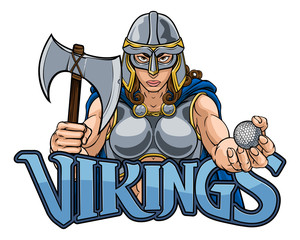 A female Viking, Trojan Spartan or Celtic warrior woman gladiator knight golf sports mascot