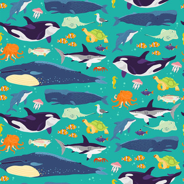 Vector flat seamless pattern with hand drawn marine animals, fish,amphibia isolated on blue background. Good for packaging paper, cards, wallpapers, gift tags, nursery decor etc.