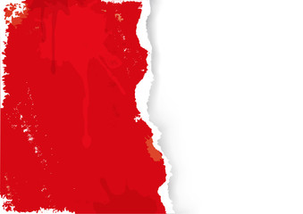Red Ripped paper grunge background.  llustration of red ripped paper with splashes. Place for your image or text. Vector available.