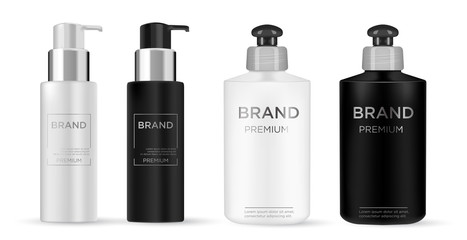 Cosmetic black, white plastic bottle.  Liquid container for gel, lotion, cream, shampoo, bath foam. Beauty product package.
