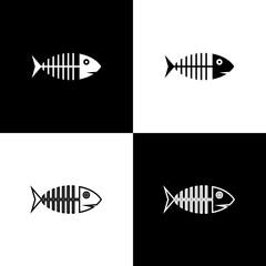 Set Fish skeleton icons isolated on black and white background. Fish bone sign. Vector Illustration