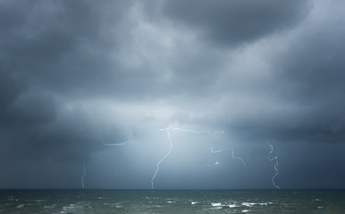 thunderstorm with lightning on the sea