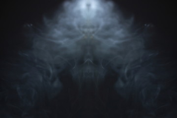 horror smoke texture background in black room . projector light beam in the air . ghost screening concept . Wall mural