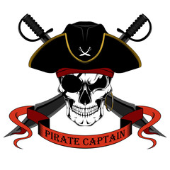 Keuken foto achterwand Draw Skull of a pirate captain in a hat with swords. Color vector image on a white background.
