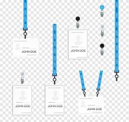 Realistic set plastic badges samples