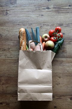 brown paper bag with groceries