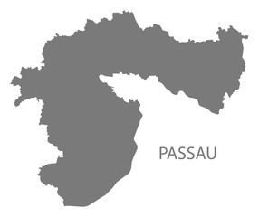 Passau grey county map of Bavaria Germany