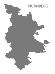 Nuremberg grey county map of Bavaria Germany