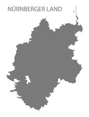 Nuernberger Land grey county map of Bavaria Germany