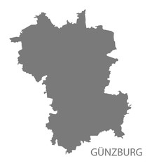 Guenzburg grey county map of Bavaria Germany