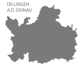 Dillingen an der Donau grey county map of Bavaria Germany
