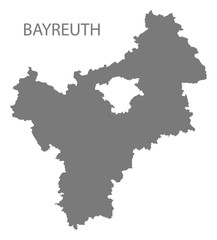 Bayreuth grey county map of Bavaria Germany