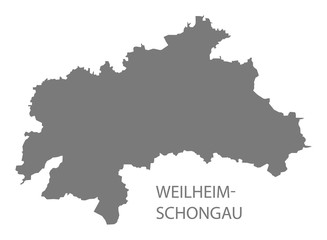 Weilheim-Schongau grey county map of Bavaria Germany