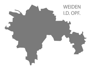Weiden in der Oberpfalz grey county map of Bavaria Germany