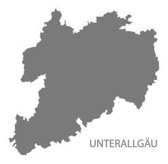 Unterallgaeu grey county map of Bavaria Germany