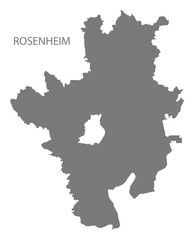 Rosenheim grey county map of Bavaria Germany