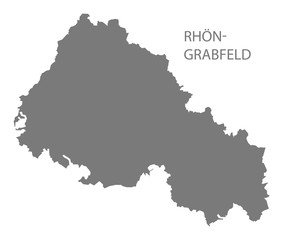 Rhoen-Grabfeld grey county map of Bavaria Germany