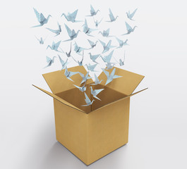 origami birds abstract concept of think out of the box and creativity 3D illustration
