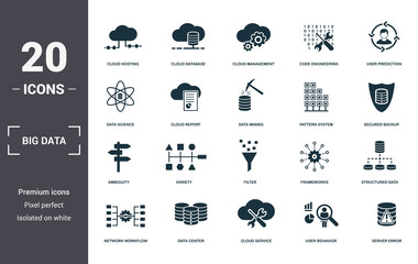 Big Data set icons collection. Includes simple elements such as Cloud Hosting, Cloud Database, Cloud Management, Code Engineering, User Prediction, Variety and Filter premium icons