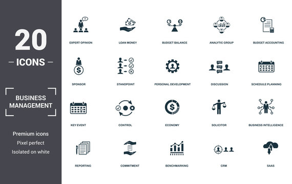 Business Management set icons collection. Includes simple elements such as Expert Opinion, Loan Money, Budget Balance, Analytic Group, Budget Accounting, Control and Economy premium icons