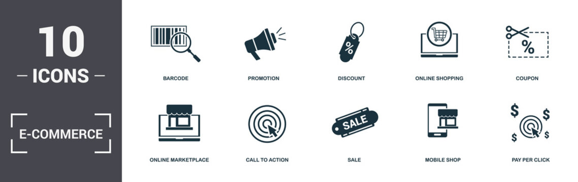 E-Commerce set icons collection. Includes simple elements such as Barcode, Promotion, Discount, Online Shopping, Coupon, Call To Action and Sale premium icons