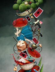Concept fantasy illustration or poster with falling girl and various objects.