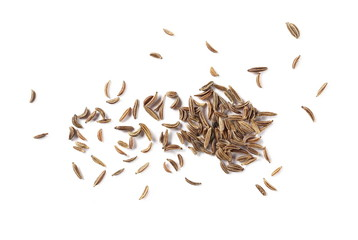 Fototapeta Cumin, caraway seeds isolated on white background, top view obraz