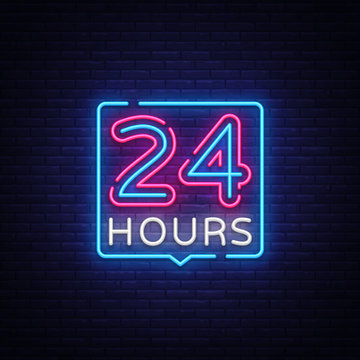 24 hours neon sign vector design template. 24 hours Open neon, light banner design element colorful modern design trend, night bright advertising, bright sign. Vector illustration