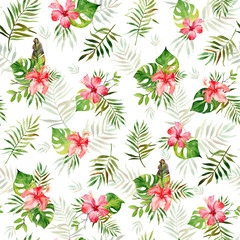 Watercolor seamless pattern with green tropical leaves of banana, monstera, palm and red hibiscus flowers. Summer background, exotic plants. Use in textiles, interior and other